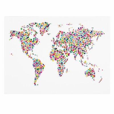 Trademark Fine Art 'Stars World Map' by Michael Tompsett Graphic Art on Wrapped Canvas