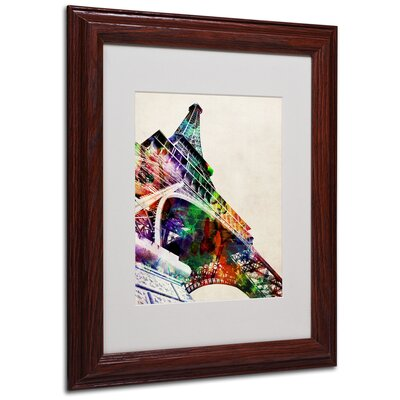 "Trademark Fine Art ""Eiffel Tower"" by Michael Tompsett Matted Framed Graphic Art"