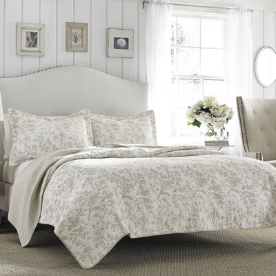 Brompton Reversible Coverlet Set in Beige by Laura Ashley Home