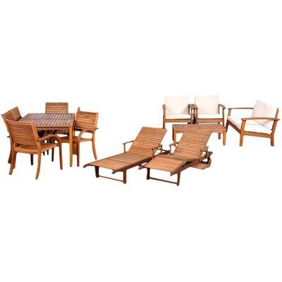International Home Miami Amazonia 13 Piece Eucalyptus Lounge Seating Group with Cushions