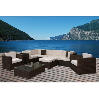 International Home Miami Southampton 9 Piece Deep Seating Group with Cushions