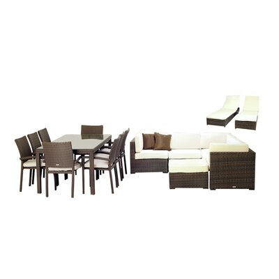 International Home Miami Atlantic 17 Piece Deep Seating Group with Cushions