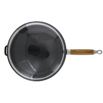 11-inch Red French Enameled Cast Iron Fry pan with Wooden Handle and Glass Lid by ...