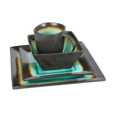 Earthtone Square 16 Piece Dinnerware Set by Kalorik