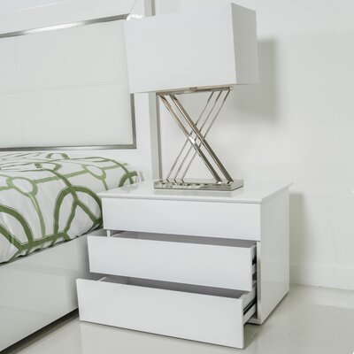 Kompany White Lacquer Lift-Top Nightstand Side Table by Matrix