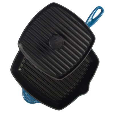 """Le Creuset Cast Iron 10"""" Panini Pan and Skillet Grill Set"""