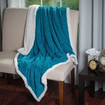 Plush Corduroy Sherpa Throw Blanket by Lavish Home