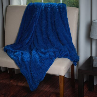 Solid Plush Sherpa Throw Blanket by Lavish Home