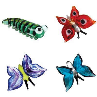 Looking Glass 4 Piece Miniature Kate Caterpillar, Ruby Butterfly, Aqua Butterfly, Brittany Butterfly Figurine Set