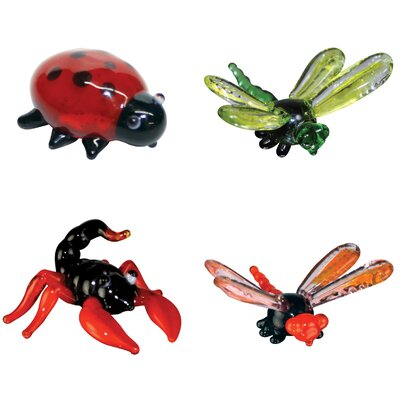 Looking Glass 4 Piece Miniature LadyBug, DragonFly, Scorpion, DamselFly Figurine Set