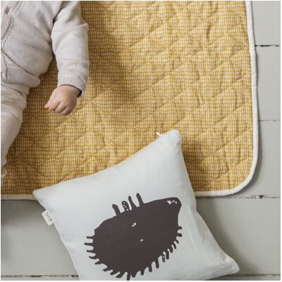 Ferm Living Kids Hedgehog Silhouette Cotton Throw Pillow by Scantrends