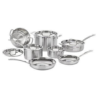 Stainless Steel MultiClad Pro 12 Piece Cookware Set by Cuisinart