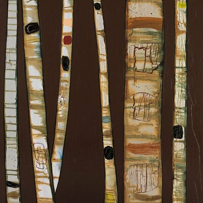 Birch Trunks by Eli Halpin Painting Print on Wrapped Canvas in Chocolate by GreenBox Art ...