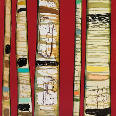 Birch Trunks by Eli Halpin Painting Print on Wrapped Canvas in Red by GreenBox Art ...