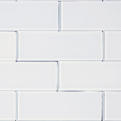 "The Bella Collection 3"" x 8"" Glass Subway Tile in Snow"