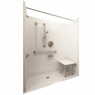 Deluxe Barrier Free Roll in System 4 Panels Shower Wall Product Photo