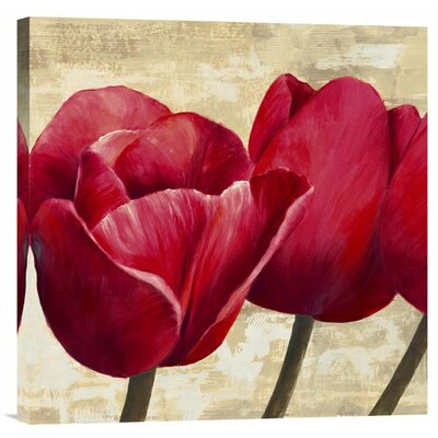 'Red Tulips' by Cynthia Ann Painting Print on Canvas by Global Gallery