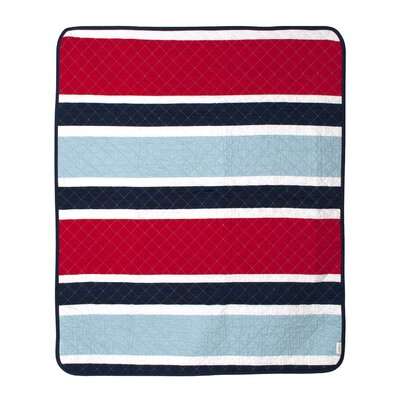 Connor Navy Deck Stripe Crib Quilt by CoCaLo