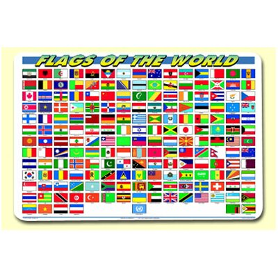 Painless Learning Placemats Flags of The World Placemat