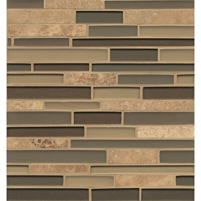 Manhattan Random Sized Glass and Natural Stone Mosaic Tile in Brown by Bedrosians