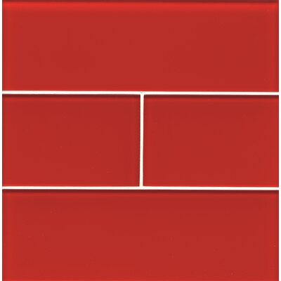 "Bedrosians Hamptons 4"" x 12"" Glass Field Tile in Red"