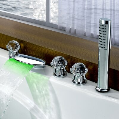 Triple Handle Deck Mount LED Waterfall Tub Faucet with Handshower Product Photo