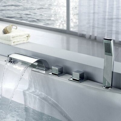Triple Handle Deck Mount Waterfall Tub Faucet with Handshower Product Photo