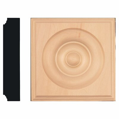 Manor House 1-1/8 in. x 5-1/2 in. x 5-1/2 in. Basswood Rosette Block Moulding