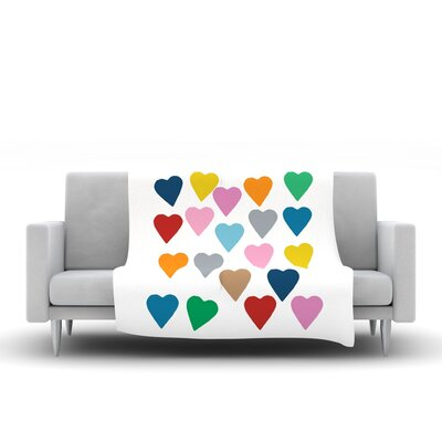 Colorful Hearts Throw Blanket by KESS InHouse