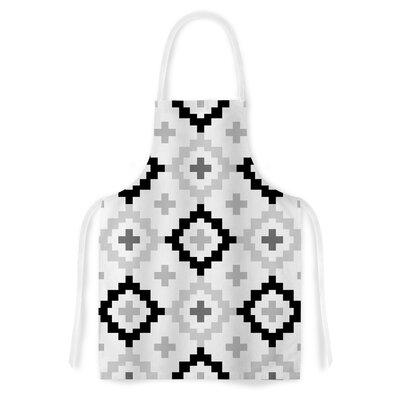 White Moroccan by Pellerina Design Grey Geometric Artistic Apron by KESS InHouse