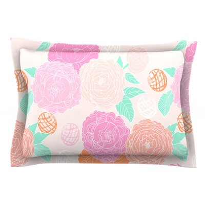 Peonies by Anneline Sophia Peach Teal Cotton Pillow Sham by KESS InHouse