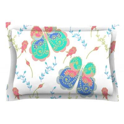 Leafy Butterflies by Anneline Sophia Teal Butterfly Cotton Pillow Sham by KESS InHouse