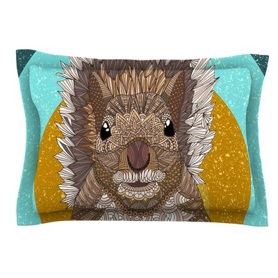 Squirrel by Art Love Passion Teal Cotton Pillow Sham by KESS InHouse