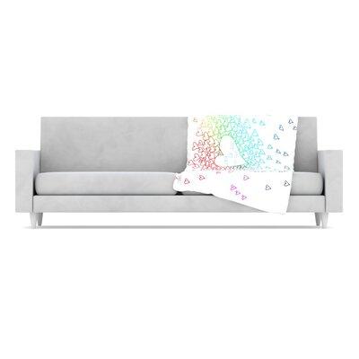 Rainbow Hearts Fleece Throw Blanket by KESS InHouse