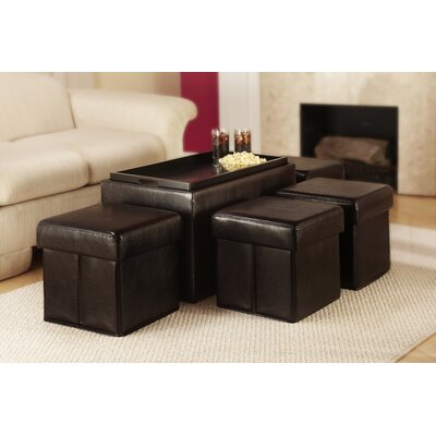 Convenience Concepts Designs 4 Comfort 5 Piece Bench with Storage & Side Ottoman Set