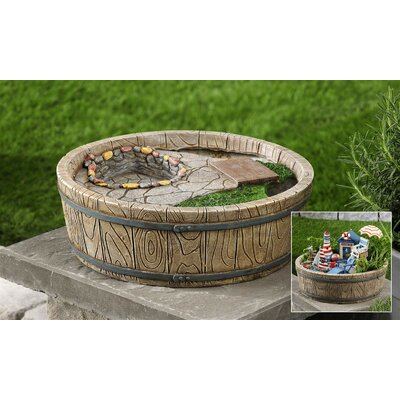 Barrel and Cobblestone Garden Decoration by Giftcraft