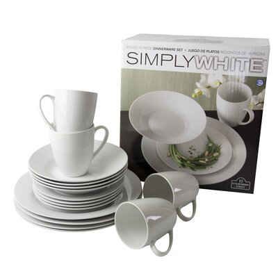 Simply White 16 Piece Place Setting Set by Ten Strawberry Street