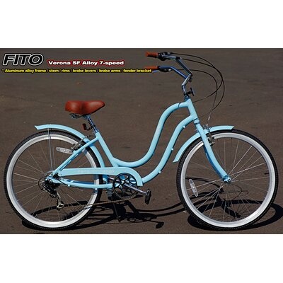 Verona Women`s Aluminum Alloy 7-Speed Beach Cruiser Bike by Fito