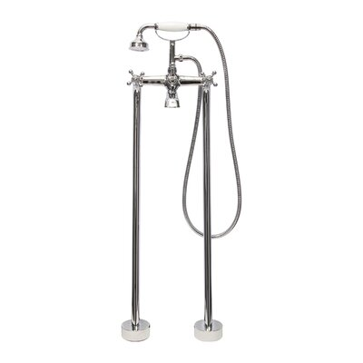Double Handle Floor Mount Tub Filler Faucet with Hand Shower Product Photo