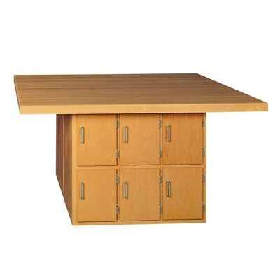 Shain Four Station Wooden Workbench with 6 Lockers