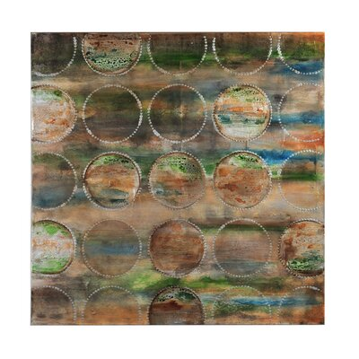 Turquoise Circles Painting Print Canvas by Bombay
