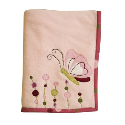 Lambs & Ivy Raspberry Swirl Plush Blanket with Applique