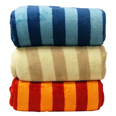 Luxury Printed Striped Plush Blanket by LCM Home Fashions, Inc.