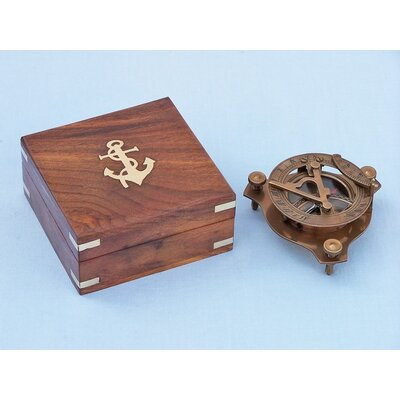 Captain's Triangle Sundial Compass Sculpture by Handcrafted Nautical Decor