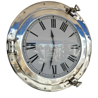 Deluxe Class Porthole 20'' Clock by Handcrafted Nautical Decor