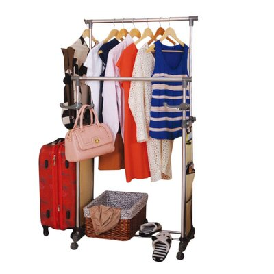 Double Garment Rack with Side Pockets Product Photo