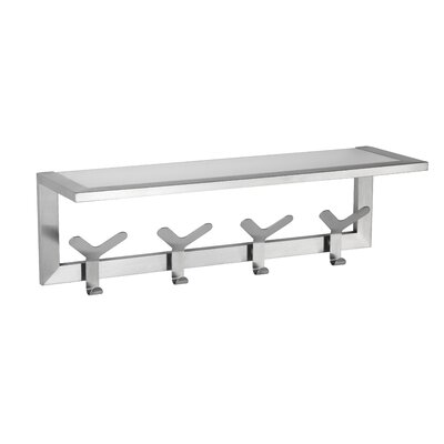 Milton Coat and Hat Wall Mounted Coat Rack with Glass Shelf by Cortesi Home