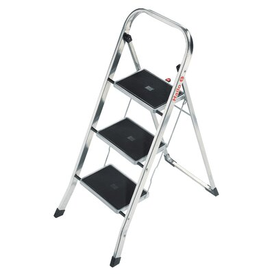 Hailo USA Inc. K30 3-Step Aluminum Step Stool with 330 lb. Load Capacity