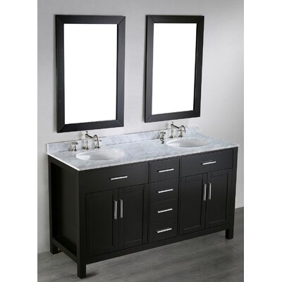"Contemporary 60"" Double Bathroom Vanity Set with Mirror Product Photo"
