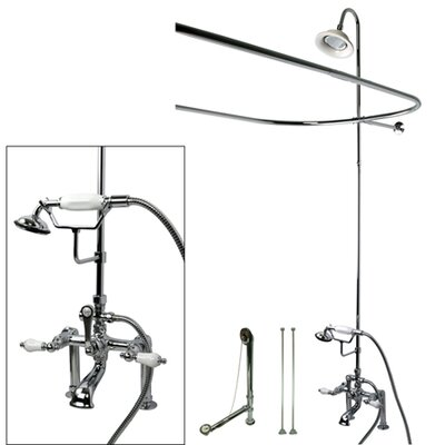 Vintage Double Handle Deck Mount Center Clawfoot Tub Fixture with Shower Riser Package Product Photo